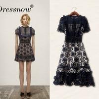 High Quality Dark blue Summer Dress Women Vintage Lace Up Fashion Cut Out Dresses Zipper Behind Elegant Party Dress