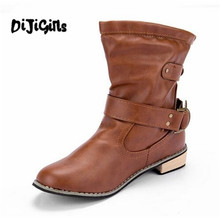 2018 winter women Motorcycle boots Round Toe Square heel Boots Casual shoes Shoes Western Martin boots