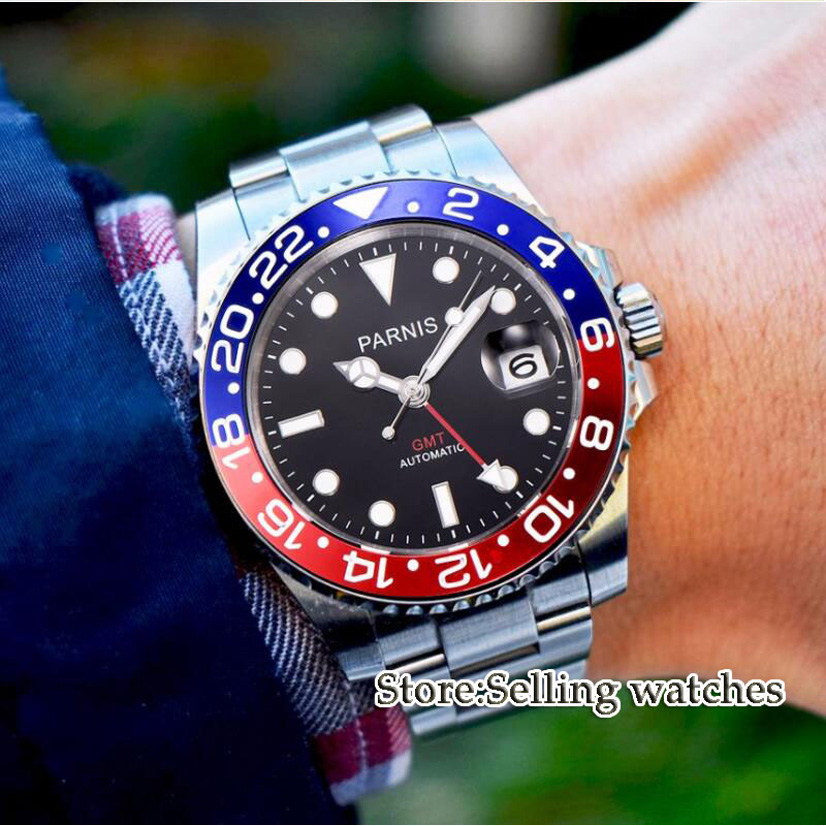 лучшая цена 40mm Parnis Mechanical Watches blue Red Bezel black dial Red GMT luminous marks sapphire glass automatic Mens Watch