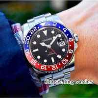 40mm Parnis Mechanical Watches blue Red Bezel black dial Red GMT luminous marks sapphire glass automatic Mens Watch