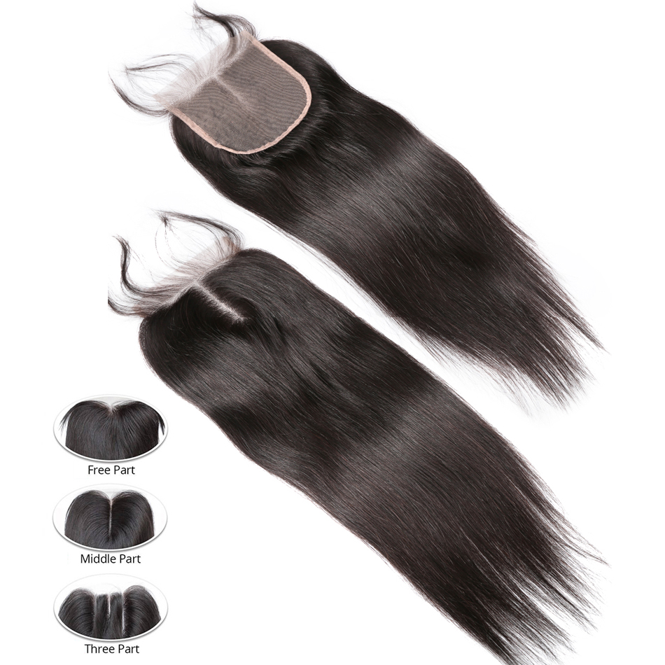 Image 4 - Rosabeauty 28 30 40 Inch Brazilian Weave Bundles Natural Color Straight 3 4 Bundles With 5X5 Lace Closure Remy Human Hair and-in 3/4 Bundles with Closure from Hair Extensions & Wigs