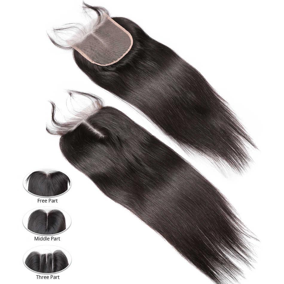 Rosabeauty 30 32 40 дюймов 6A человеческие волосы прямые пучки с закрытием 3 4 пучка с закрытием шнурка remy волосы для наращивания