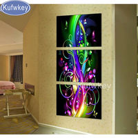 5D diy diamond painting abstract fluorescent,flower,cross stitch,full diamond embroidery,diamond mosaic flamingo wall art 3pcs