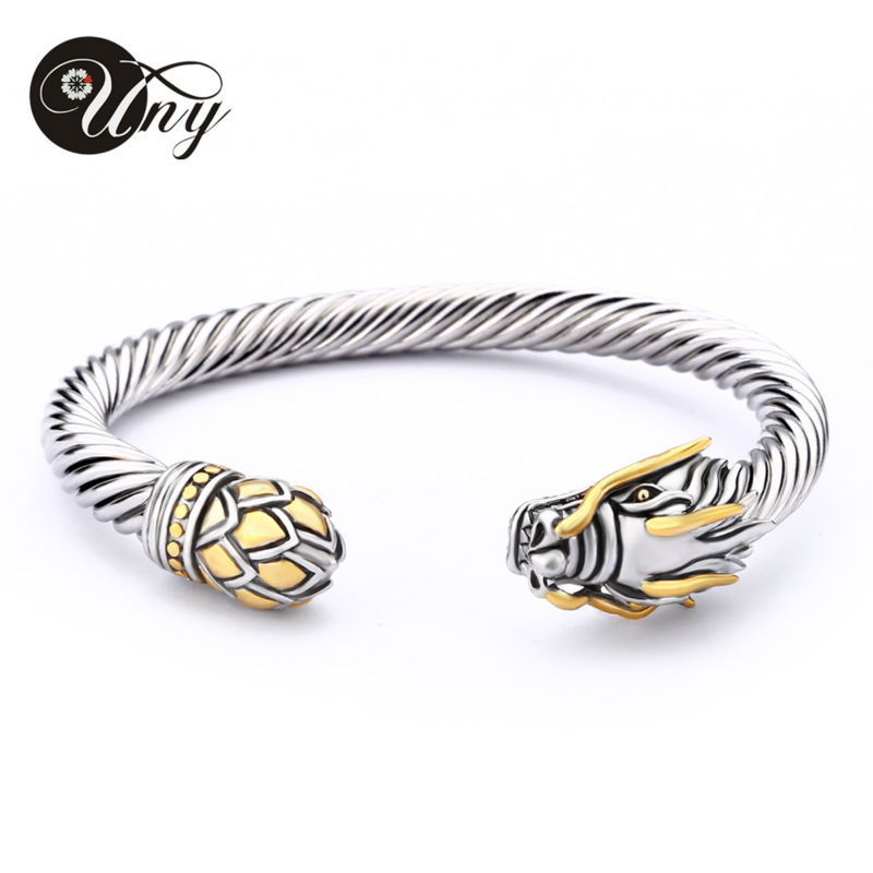 UNY Bangle Twisted Cable Wire Dragon Byzylyk Fashion Fashion Designer Anije Falas Brand Vintage Bangles Krishtlindjeve Gratë Prangat e grave