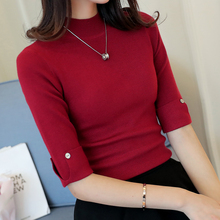 fashion women spring summer turtleneck solid color half sleeve basic knitted shirt female slim sweater pullover Office Lady tops