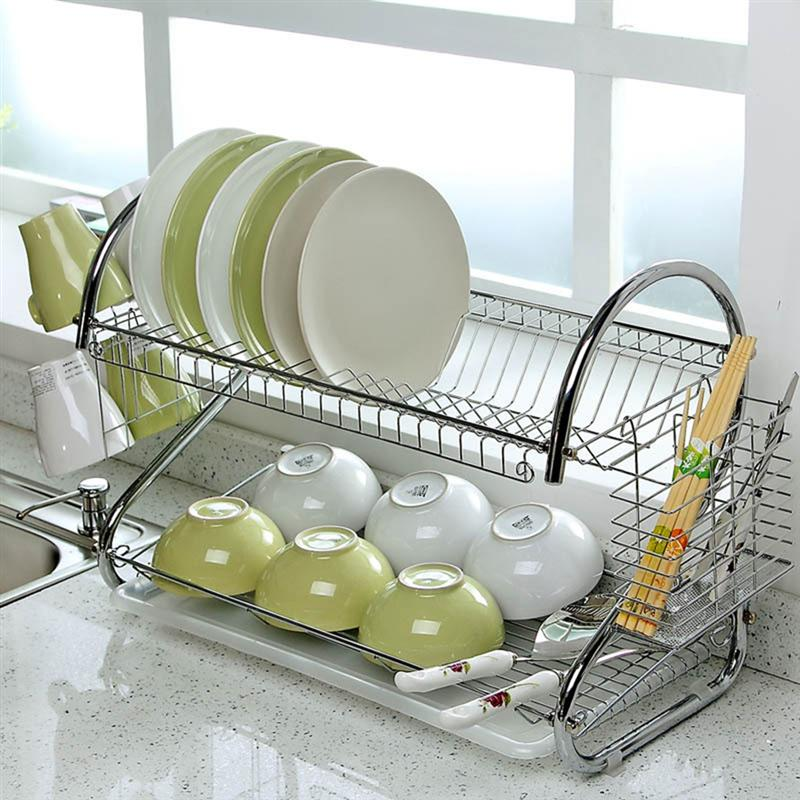 1pc Dish Cup Stainless Steel Storage Rack Kitchen Tool Drainer Dryer Dish Holder Tray Drying Rack for Home Restaurant (Silver)