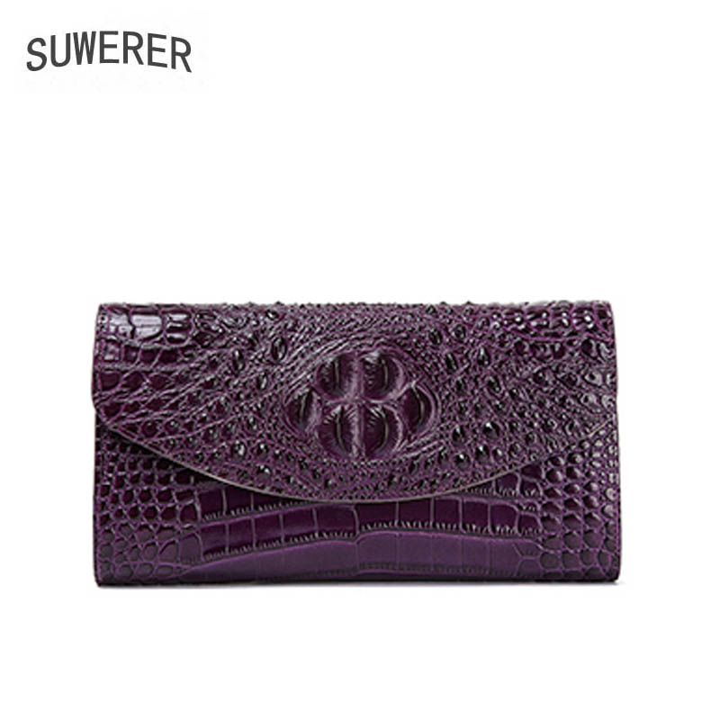 2018 New women bag Superior cowhide Genuine Leather handbags fashion Crocodile pattern clutch bag women Chain shoulder bag mcq alexander mcqueen платок