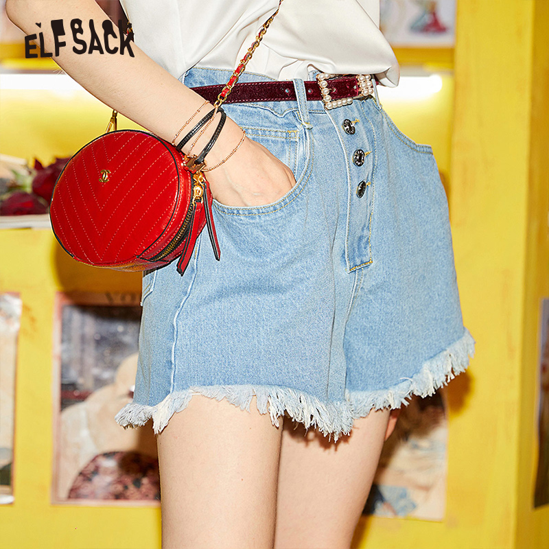 ELF SACK Solid High Waist Women Denim Shorts Fashion Loose Femme Flare Shorts 2019 New Summer Cotton Casual Cowboy Woman Short