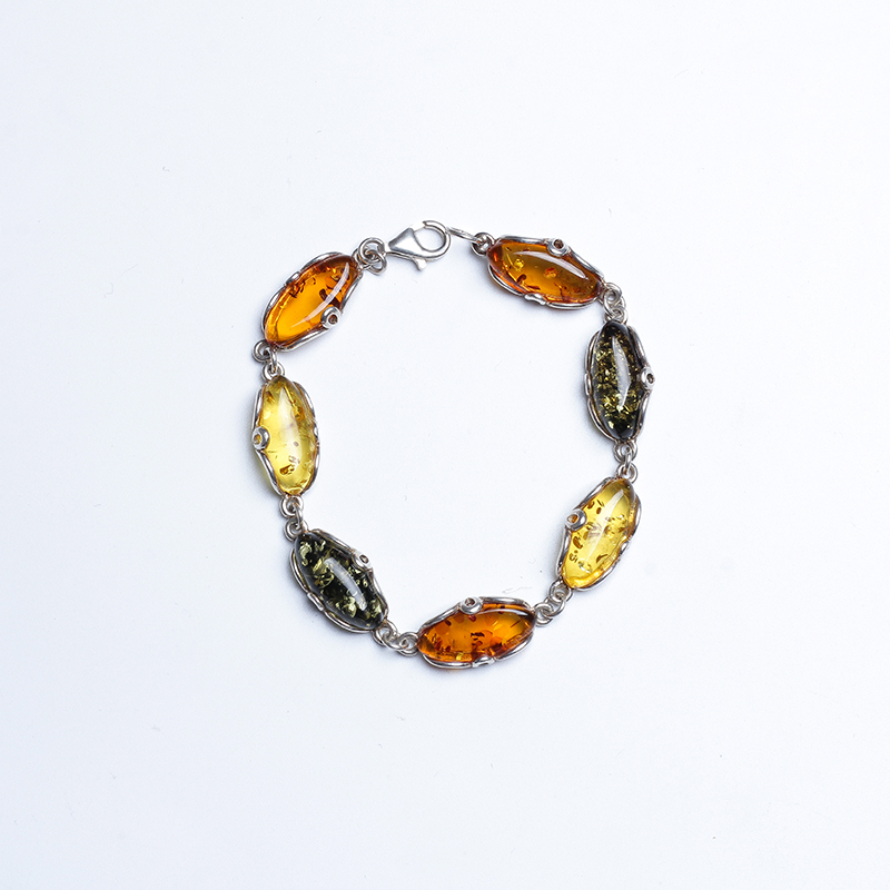 JIUDUO jewelry Pure natural Baltic amber female bracelet 925 silver inlay support re-inspection attached certificate