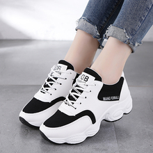 Fashion Lady Casual White Shoes Women Sneaker Black Leisure Thick Soled Shoes Flats Cross-tied Lace-Up White female student