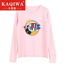 2018 Spring Women Fish 3D crochet Embroidery Knitted Sweaters Beading Knit Pullovers Jumper 2018 Autumn Women Women(China)