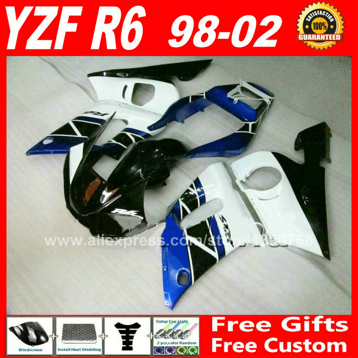 ᗑ】Azul blanco ABS carenado para Yamaha YZF R6 98 99 00 01 02 ...