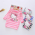 2016 Summer Girls Dress Hello Kitty Cartoon Kids Dresses For Girl Clothes 2-7Y Children Vestidos Costume Roupas Infantis Menina