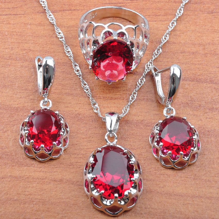 925 Silver Jewelry Sets Rose Red Cubic Zirconia For Women Wedding Jewelry Earrings Ring Necklace Set Anniversary Present JS0163