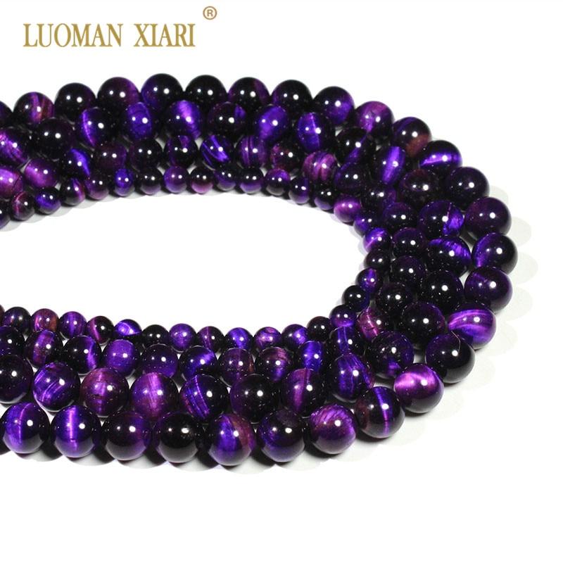 ef3f7bcc1370 Al por mayor púrpura Natural del ojo del tigre de piedra redonda para la  joyería que
