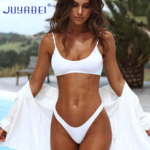 JUYABEI Solid Triangle Bikini 2017 Sexy White Black Swimsuit Thong Female Push-up Brazil Biquini Halter Beach Bathing Suit Women