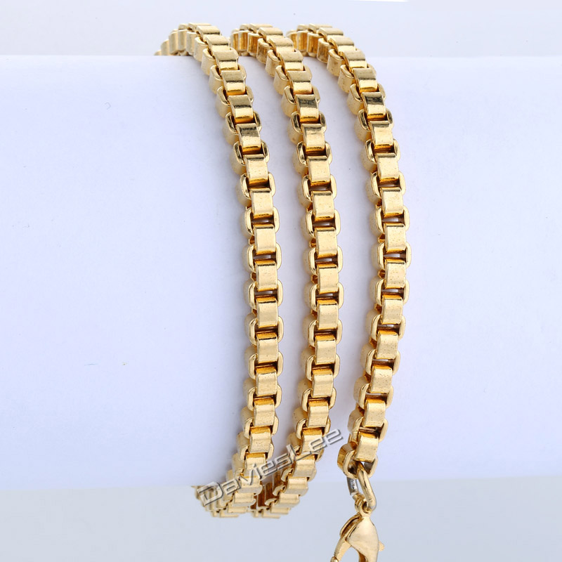 903c5c7a17f US $15.83 |Personalized 18 36inch Box Necklace Link Chain Gold Filled 4mm  Womens mens Chain Necklace Wholesale Bulk Gift Jewelry LGN38-in Chain ...