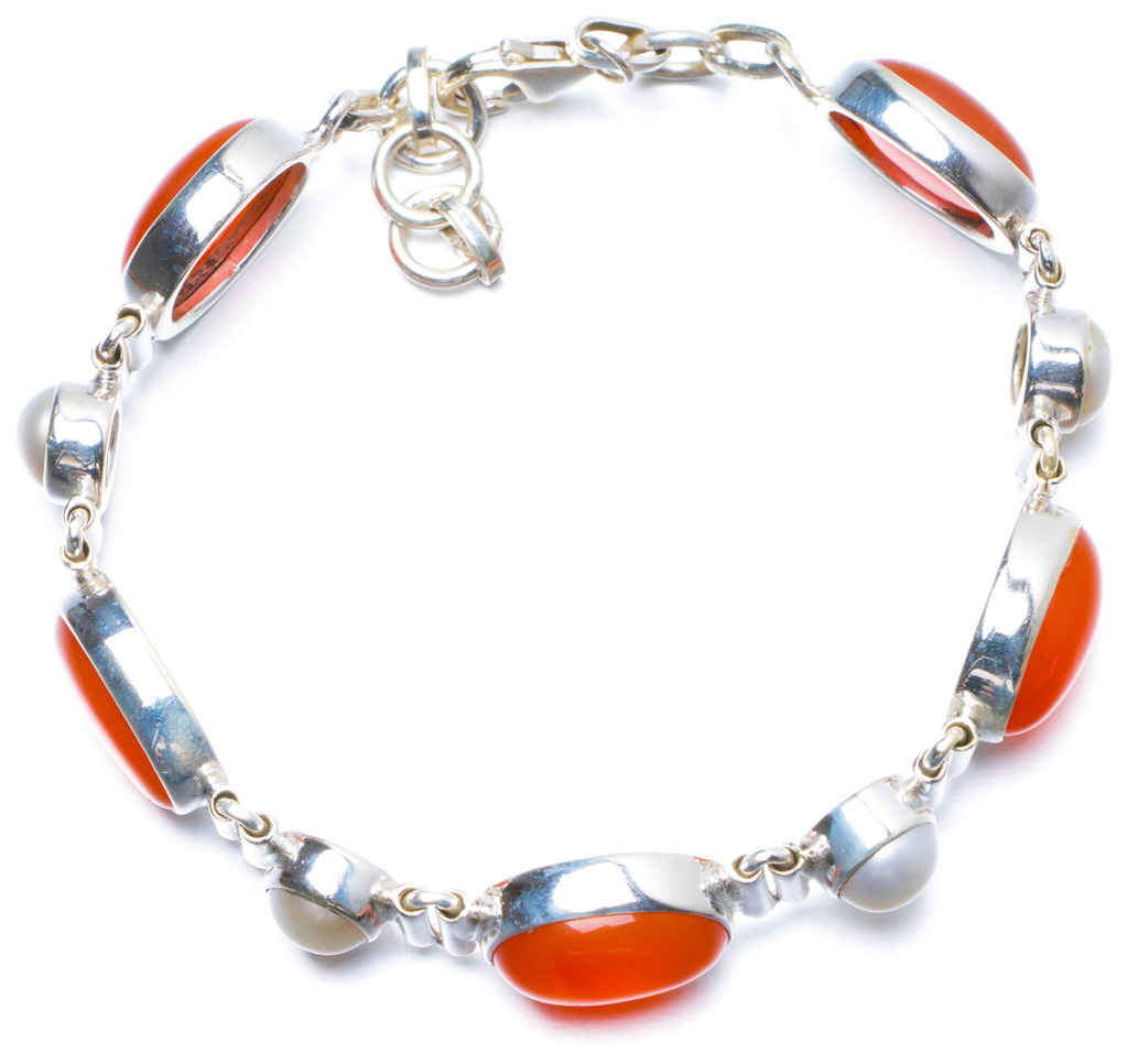 цена на Natural Carnelian and River Pearl Handmade Unique 925 Sterling Silver Bracelet 7 1/4-8
