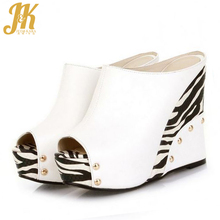 J&K fashion  high wedges open toe rivets zebra summer shoes vintage color matching summer wedding OL sandals fashion shoes women