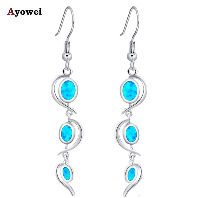 5g Design Royal style Blue Fire Opal stamp Silver Dangle Earrings for women Fashion Jewelry Opal Jewelry OE364A