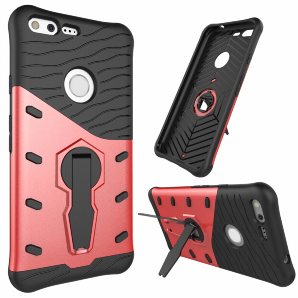 Case For Google Pixel / Pixel XL Iron Man Plastic Hybrid Armor Rotating Stand Holder Soft Protective Casing Funda Kimthmall