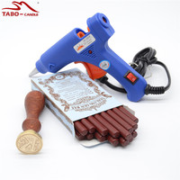 Glue Gun Included Dark Red Sealing Wax Stick 16pcs Box With 25mm Round Letter Stamp A