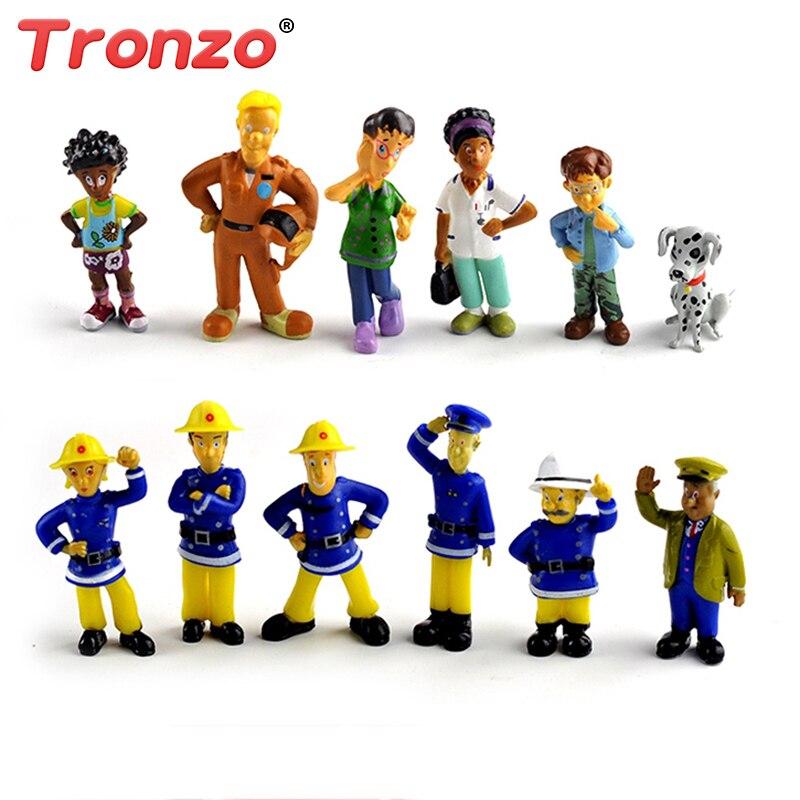 Tronzo 12Pcs/Set Fireman Sam Cute Cartoon PVC Action Figure Doll Toys For  Kids Educational Fashion Firefighter Doll Dropship