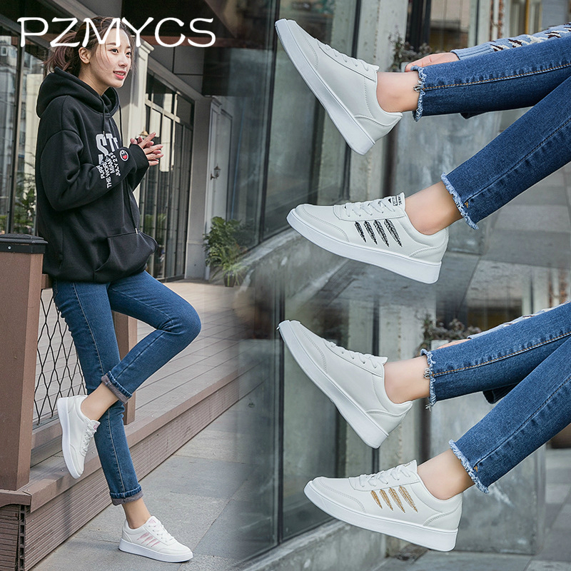 PZMYCS Casual Vulcanize Shoes Genuine Leather Platform Sneaker Women Flats Star Breathable Lace Up Winter Fashion Sport Shoes