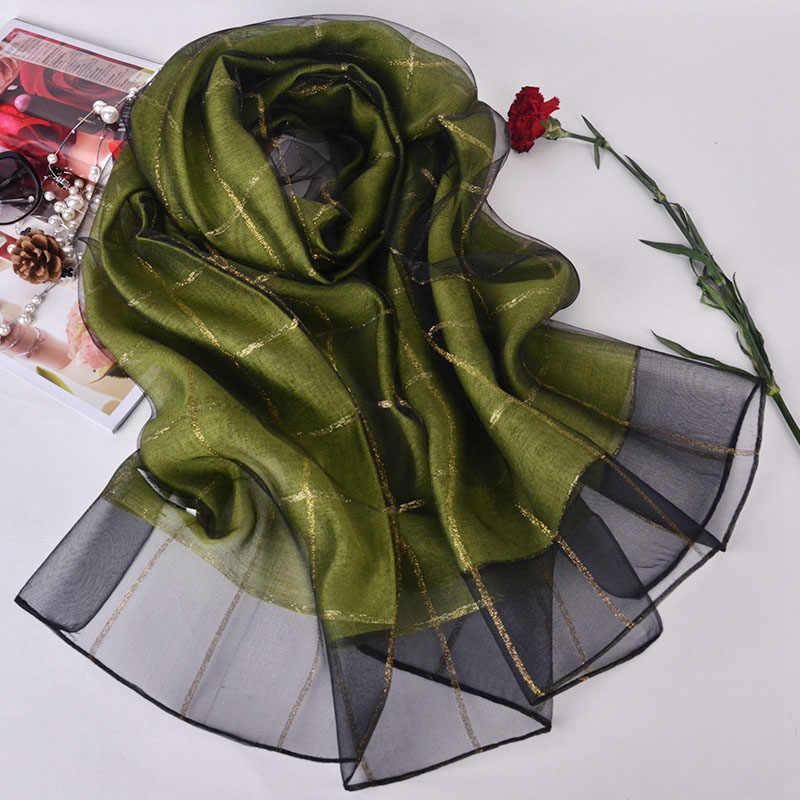 Клетчатый шелковый шарф новый бренд женский платок осень лето платье обертывание для дам плюс размер ткань Пашмина Para Mujer 190*70 см