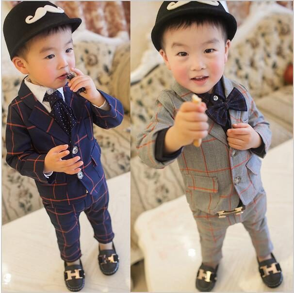 11a92e10b Boys Blazer Suit Big Plaid Coat And Pants Set For 2 To 7 Years Kids ...