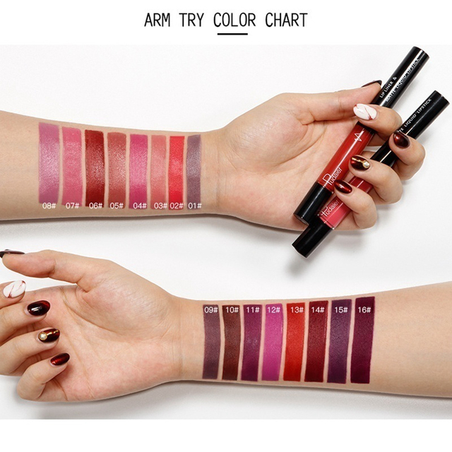 16 Color Double-ended Lipstick Lips Makeup Easy to Wear Matte Lip Gloss Lipliner Pencil Red Nude Pink Purple Liquid Lipsticks 1