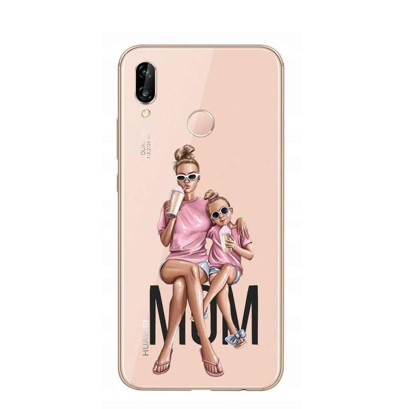Silikon Kapak Kraliçe Prenses Saç Bebek Süper Anne Kız Durumda Huawei P8 Lite 2017 P9 P10 Artı P20 P20 pro Mate 20 Mate 10 Lite