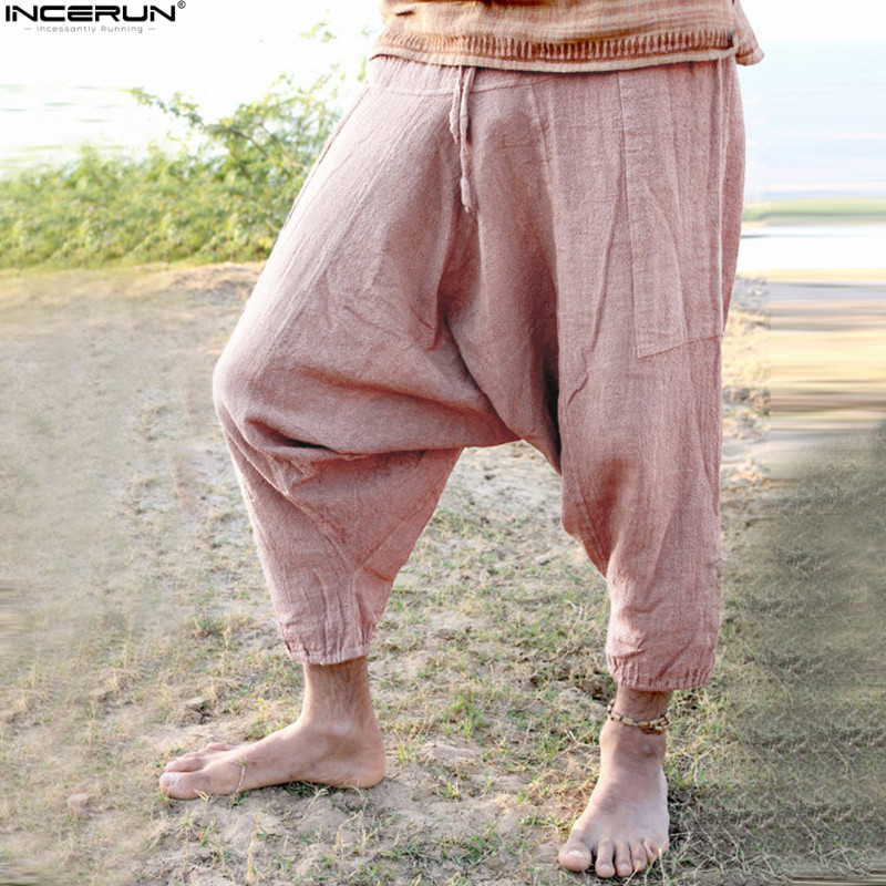 New Hip-Hop Aladdin Hmong Baggy Cotton Harem Pants For Men Women Plus Size Wide Leg Trousers New Baggy Casual Pants Cross-pants