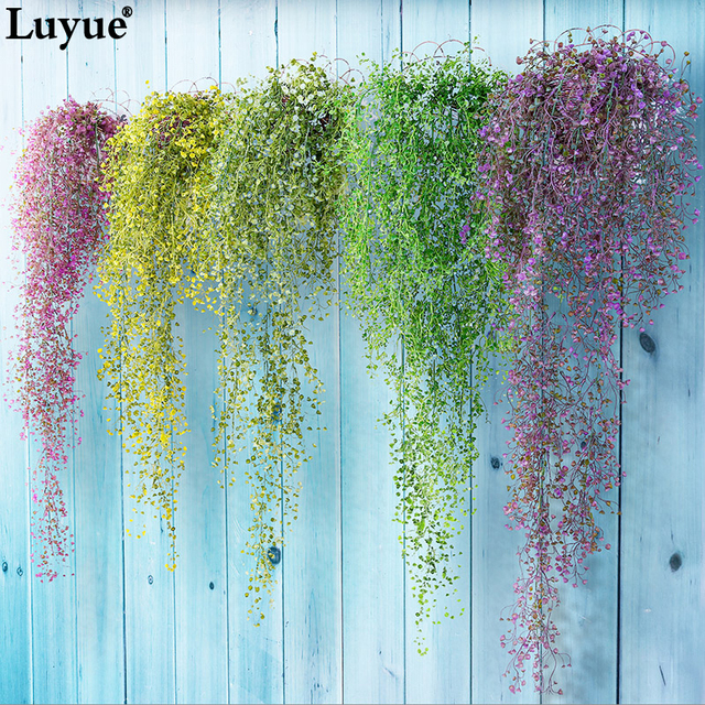 Luyue Artificial Plant Vines wall hanging green plant Chlorophytum decorative PVC Simulation plants orchid fake Flower rattan