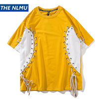 Side Lace Up Tied Patchwork Skateboard T Shirt 2018 Summer Hip Hop Streetwear Tee Shirts Fashion Yellow Men Clothing 2018 W420