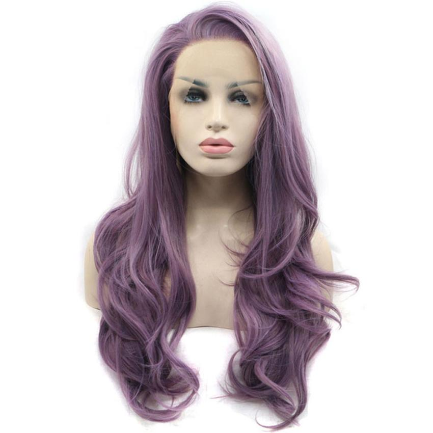 New Women's Fashion Purple Synthetic Hair Long Wigs Wave Curly Wig+Cap curly human hair wig 0621 fashion long fluffy curly side parting mixed color women s synthetic hair wig