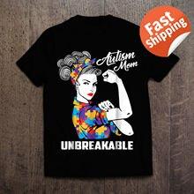 לאוטיזם אמא Unbreakable חולצה אוטיזם מודעות מתנה קיץ 2019 קצר שרוול בתוספת גודל הדפסת גברים חולצה קיץ צבא T חולצה