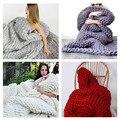 Newest Wonderful Hand Chunky Knitted Adult Blanket Spring/Autumn Sofa Blanket Thick Yarn Merino Wool Bulky Knitting