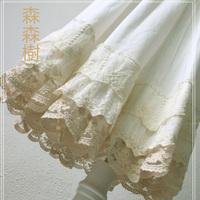 Mori Girl Multi Layer Lace Cotton Skirt Women White Fairy Lace Embroidery Pleated Hollow Princess Underskirt Kawaii Skirt A285