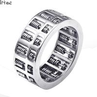 Titanium Ring Metro Sexual Abacus Retro Punk Bead Ring Rotating Stainless Steel Factory Direct Sales