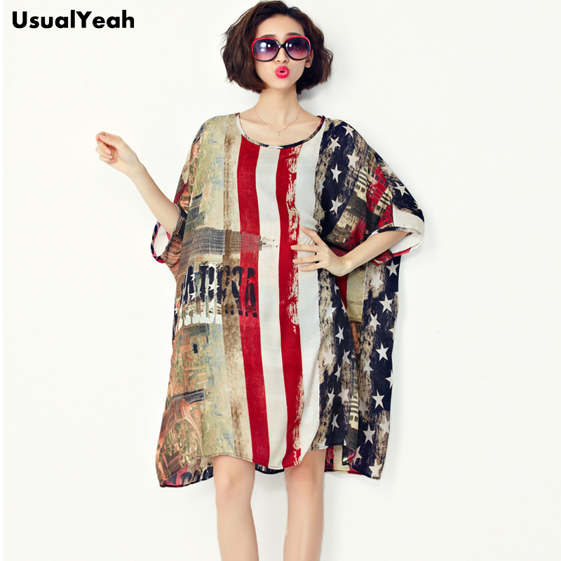 2017 New Fashion Chiffon Long Blouse Summer American Flag Printing Big Size Mini Dress L ~ 4XL