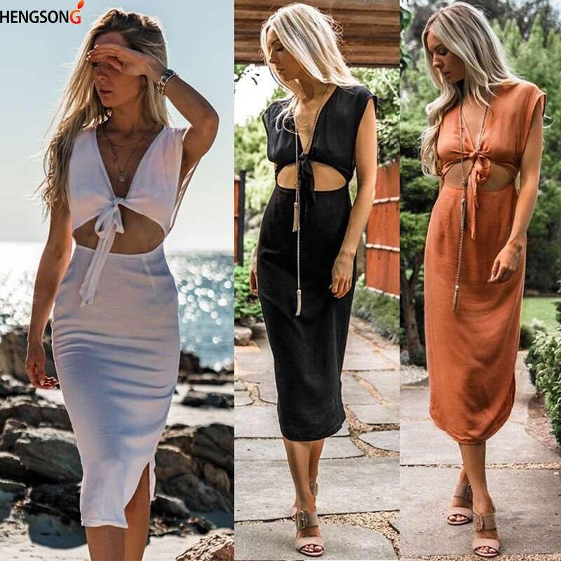 Hengsong 2018 Summer New Explosion Fashion Sexy Bandage Sleeveless Dress Women's Clothing 731908