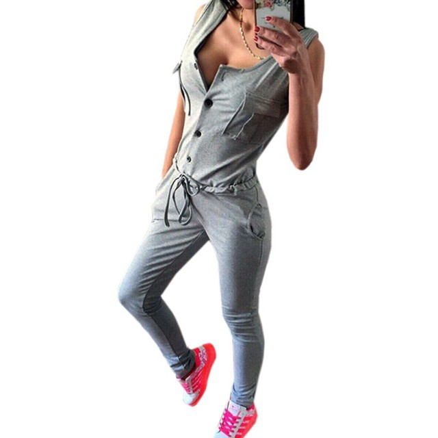 Hot Sale Rompers Womens Jumpsuit 2016 Summer Sexy Sleeveless Bodycon Solid Long Overalls Female Casual Long Wear