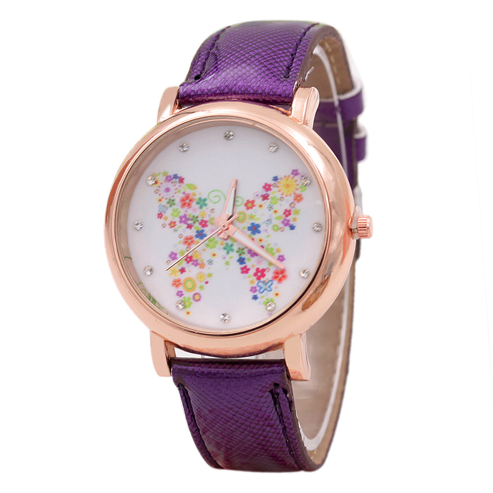 Best Selling Women Watches Analog Quartz Watch Charming Fashion Butterfly Shoes Pattern Leather Band relogio feminino analog watch