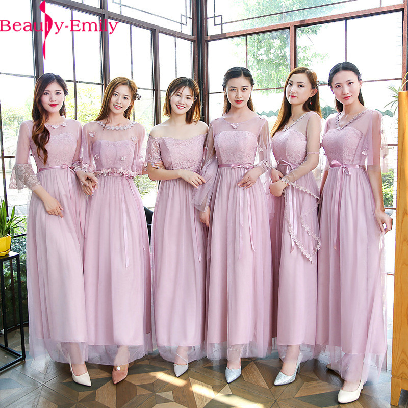 Beauty Emily Long Dust Pink Cheap Bridesmaid Dress 2019 Elegant Boat Neck Off Shoulder Wedding Guest Dress Many Styles Available