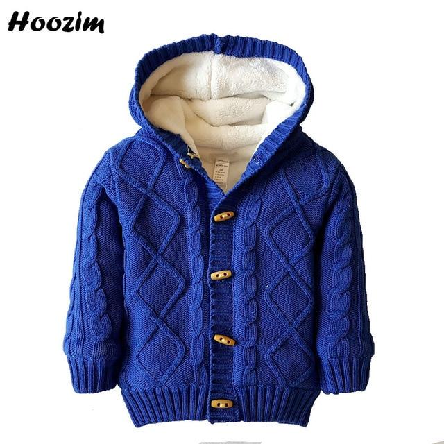 ccb4b89909e2 Boys Cardigan Khaki Plaid Thick Warm Hooded Fleece Knitted Sweater ...