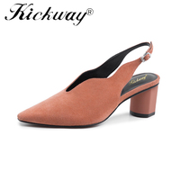 Genuine Leather Shoes Women Heels Thick Strange Style Heel Back Straps Shoes Black Green Tan Slingback Pumps Buckle Strap Shoes