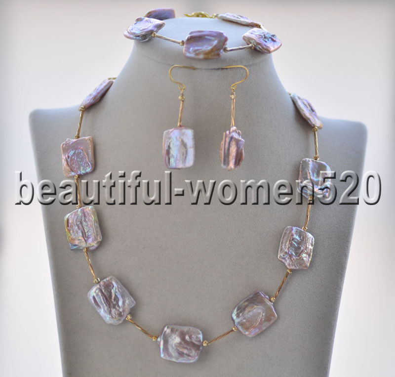 Z9011 23mm Square coin Lavender Keshi Pearl Necklace & Bracelet & EarringZ9011 23mm Square coin Lavender Keshi Pearl Necklace & Bracelet & Earring