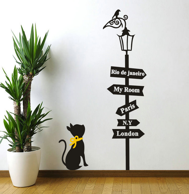 Removable DIY Wallsticker Black Cat Bird Street Lamp Road Sign Wall Sticker Room Poster Adhesive Decals