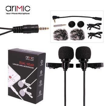 Microfone condensador ulanzi arimic, microfone de lapela com ponta dupla, condensador e adaptador para microfone w trrs/microfon para telefones dslr